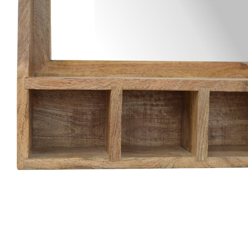 Handcrafted Wall Mounted Cabinet With 5 Open Slots and Mirror - HM_FURNITURE