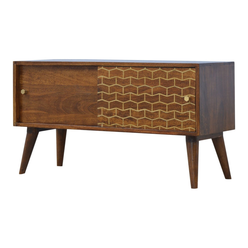 Handcrafted Chestnut Finish Sliding Door Cabinet With Geometrical Patterns - HM_FURNITURE