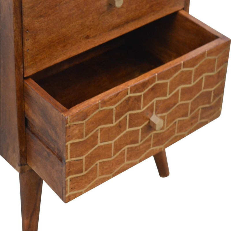 Handcrafted Bedside Table With Brass Inlay Goldline Drawer - HM_FURNITURE