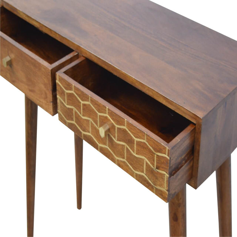 Handcrafted Gold Painted Console Table With 2 Drawers - HM_FURNITURE