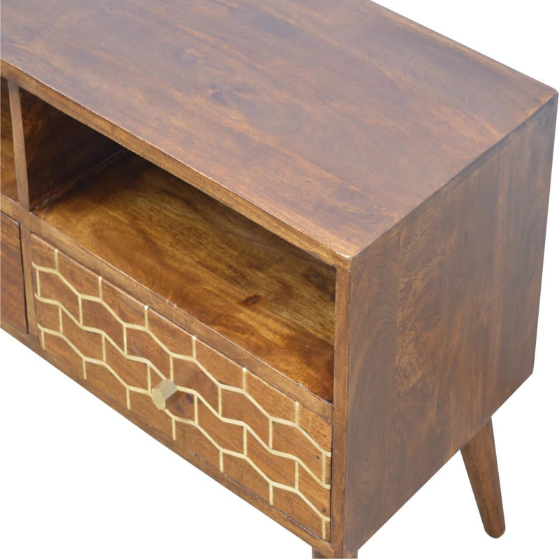 Handcrafted Media Unit With Goldenline Drawer - HM_FURNITURE