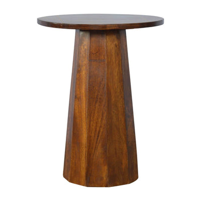 Handcrafted Round End Table With Goldline Top - HM_FURNITURE