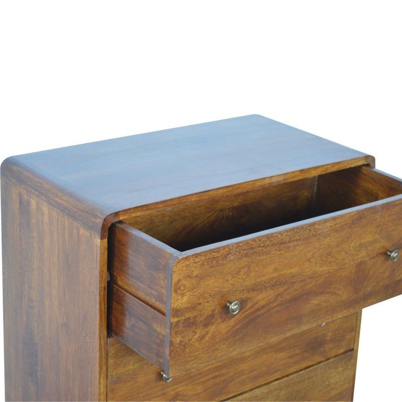 Chestnut Finish Curved Chest With 3 Drawers - HM_FURNITURE