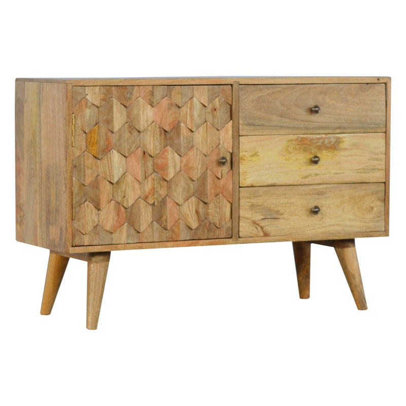 Mango Wood 1 Door Sideboard With 3 Drawers - HM_FURNITURE