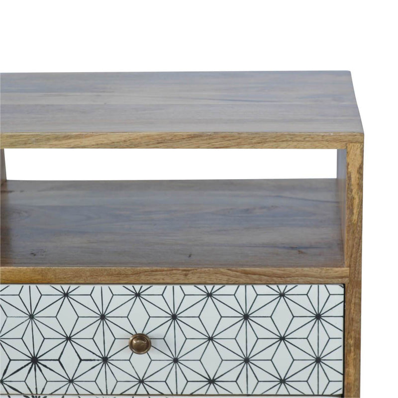 Handcrafted Bedside Table With Monochrome Drawer - HM_FURNITURE