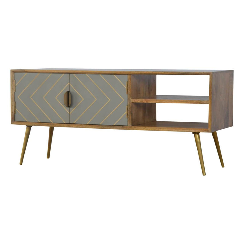 Handcrafted Media Unit With Sleek Cement Doors - HM_FURNITURE