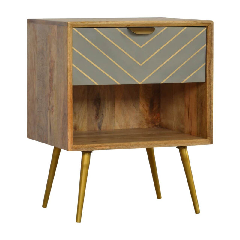 Handcrafted Bedside Table With Brass Inlay Sleek Cement Drawer - HM_FURNITURE