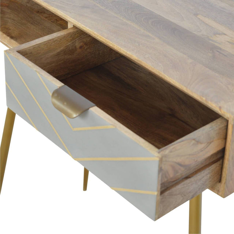 Handcrafted Solid Wood Desk With 1 Cement Drawer and 1 Open Slot - HM_FURNITURE