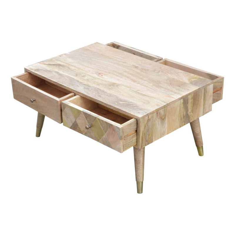 Handcrafted Solid Wood Coffee Table With 4 Drawers And Golden Plated Legs - HM_FURNITURE