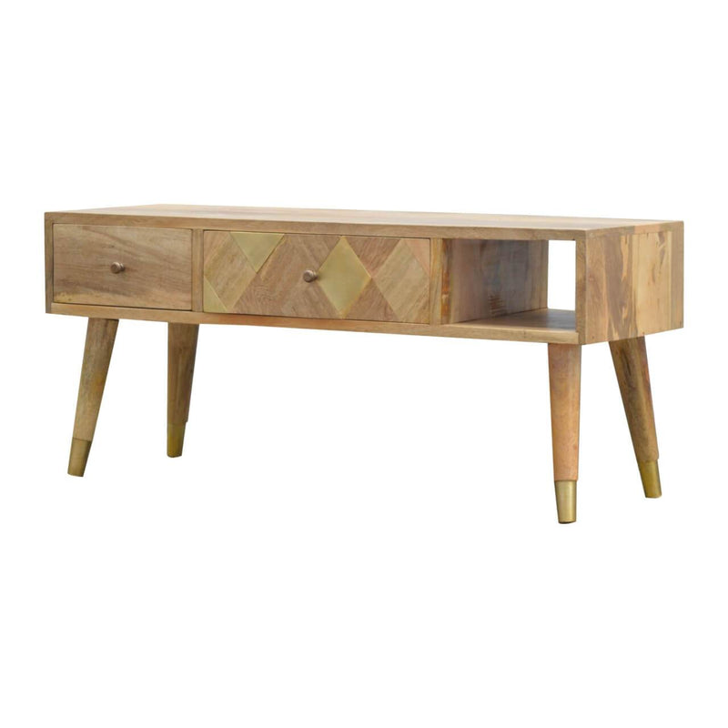Handcrafted Gold Brass Inlay Media Unit With 2 Drawers - HM_FURNITURE