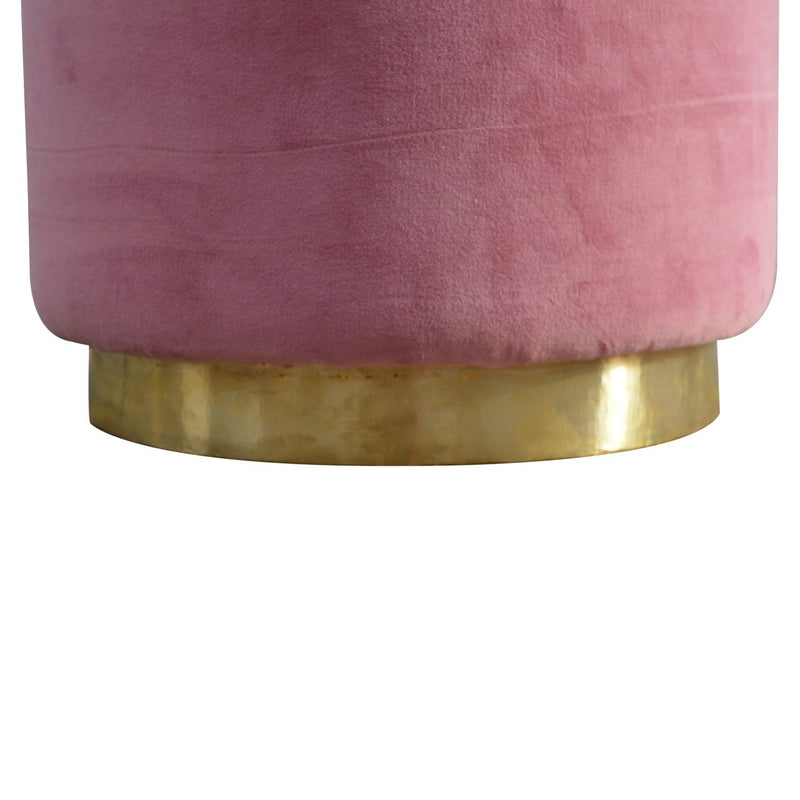 Handcrafted Pink Velvet Foot Stool With Golden Base - HM_FURNITURE