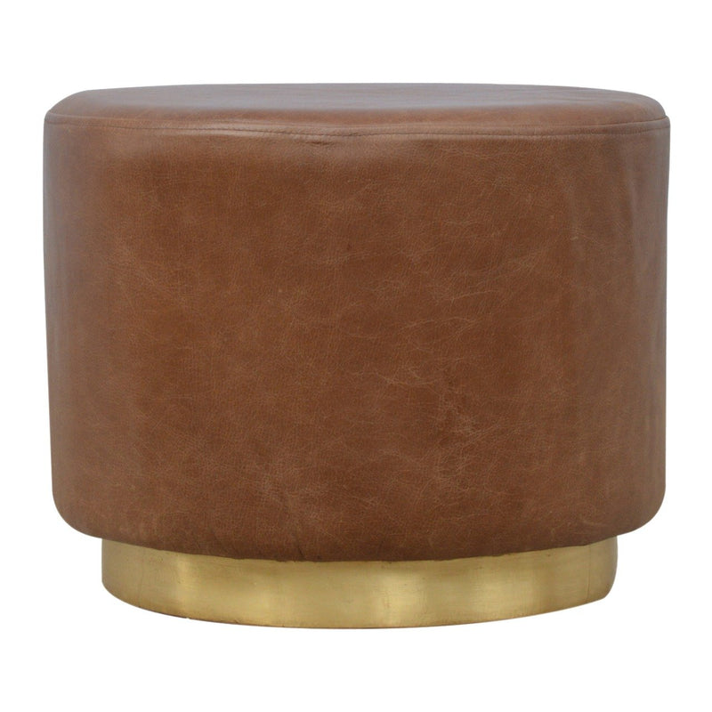 Handcrafted Foot Stool With Leather and Golden Base - HM_FURNITURE