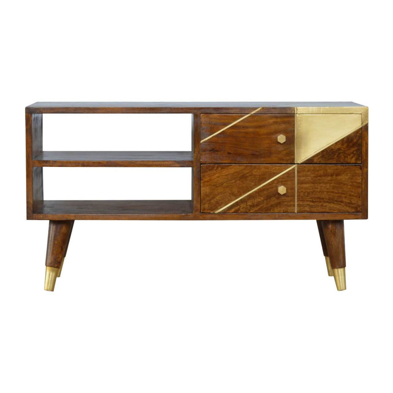 Handcrafted Media Unit With Gold Patterns and Gold Base - HM_FURNITURE