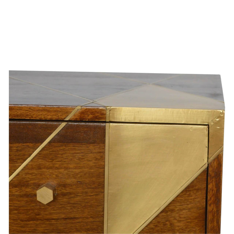 Handcrafted Bedside Table With 2 Goldenline Drawers - HM_FURNITURE