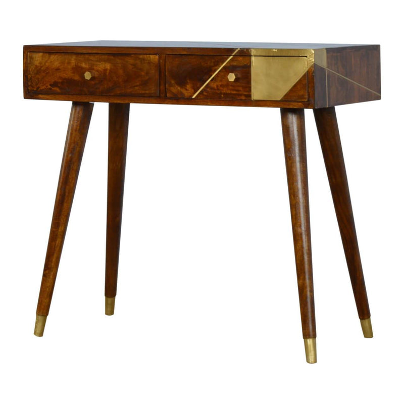 Handcrafted Console Table With Gold Geometric Patterns - HM_FURNITURE