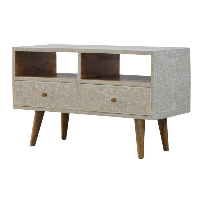 Handcrafted Bone Inlay Media Unit With 2 Drawers - HM_FURNITURE