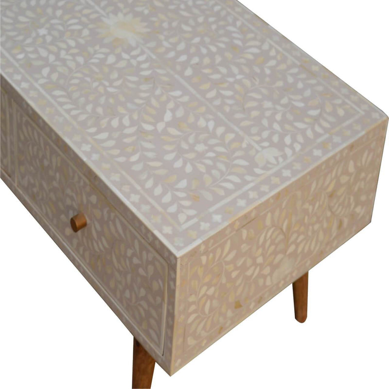 Handcrafted Floral Bone Inlay Coffee Table With 2 Drawers - HM_FURNITURE