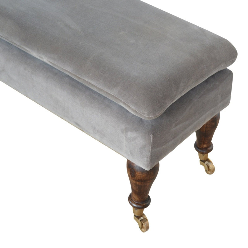 Handcrafted Grey Velvet Bench With Castor Feet - HM_FURNITURE