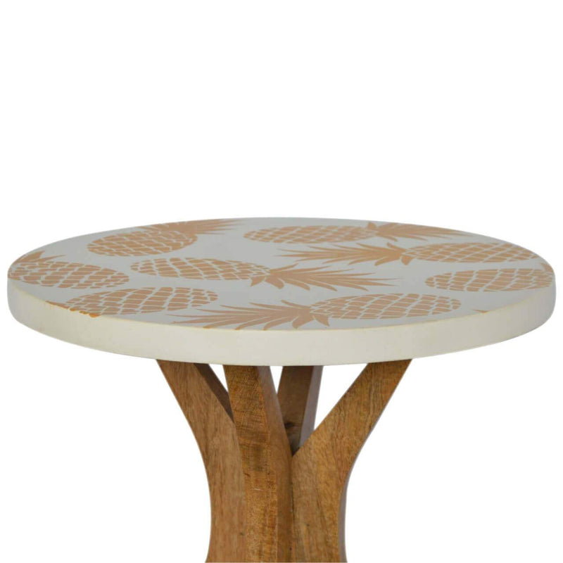 Pineapple Print Handcrafted Tea Table - HM_FURNITURE