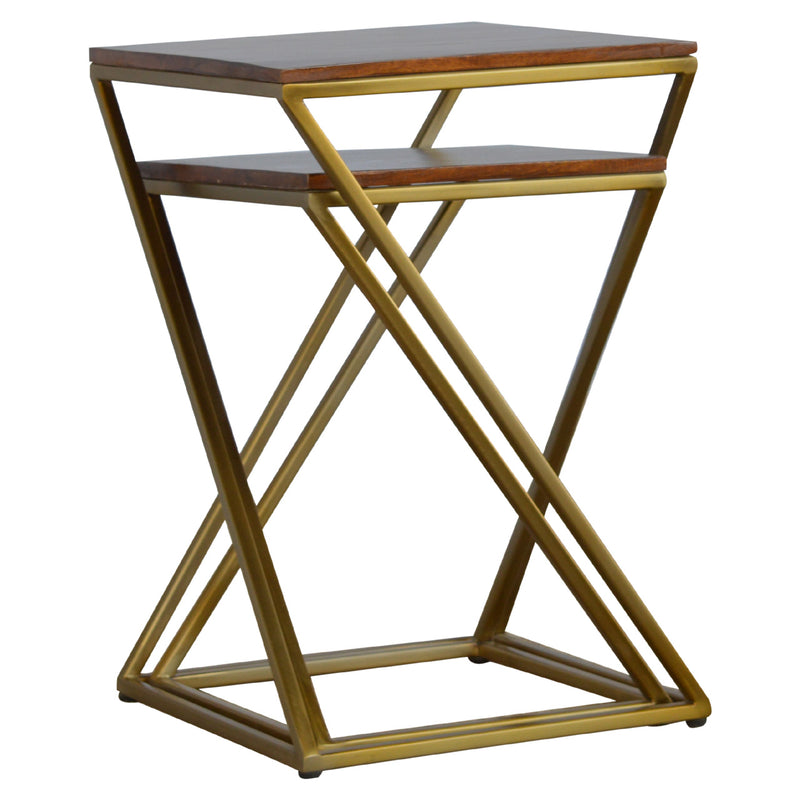 Handcrafted Solid Wood Tabletop and Golden Finish Iron Base Nesting Tables