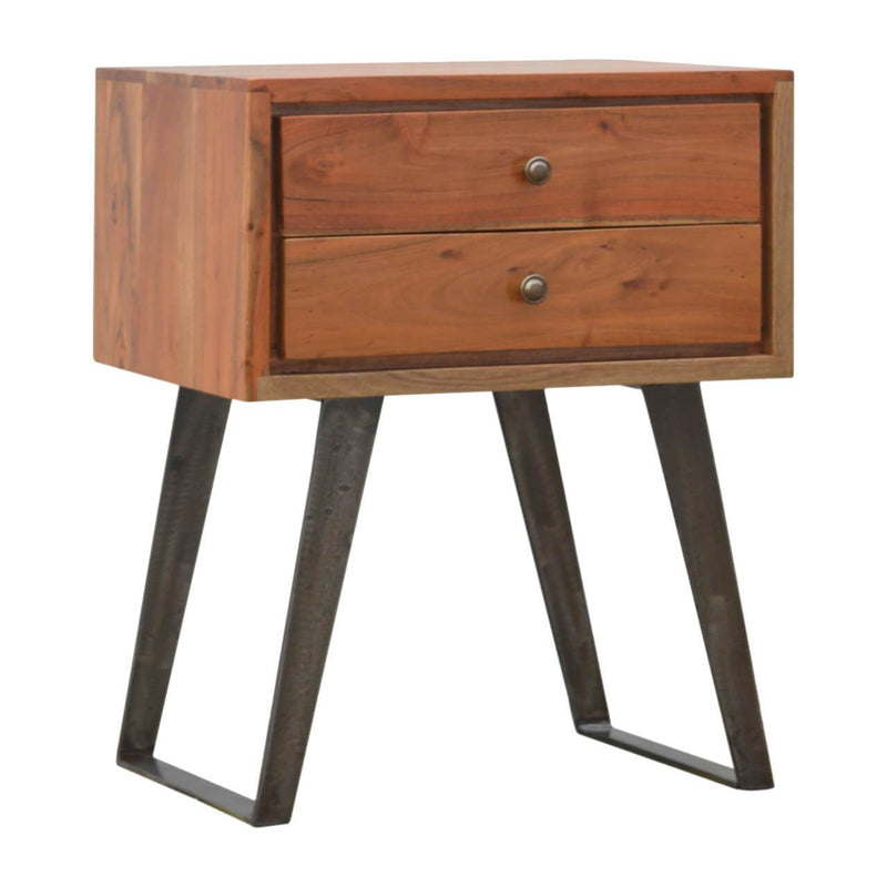 Handcrafted Caramel Finish Bedside With 2 Drawers and Iron Legs - HM_FURNITURE