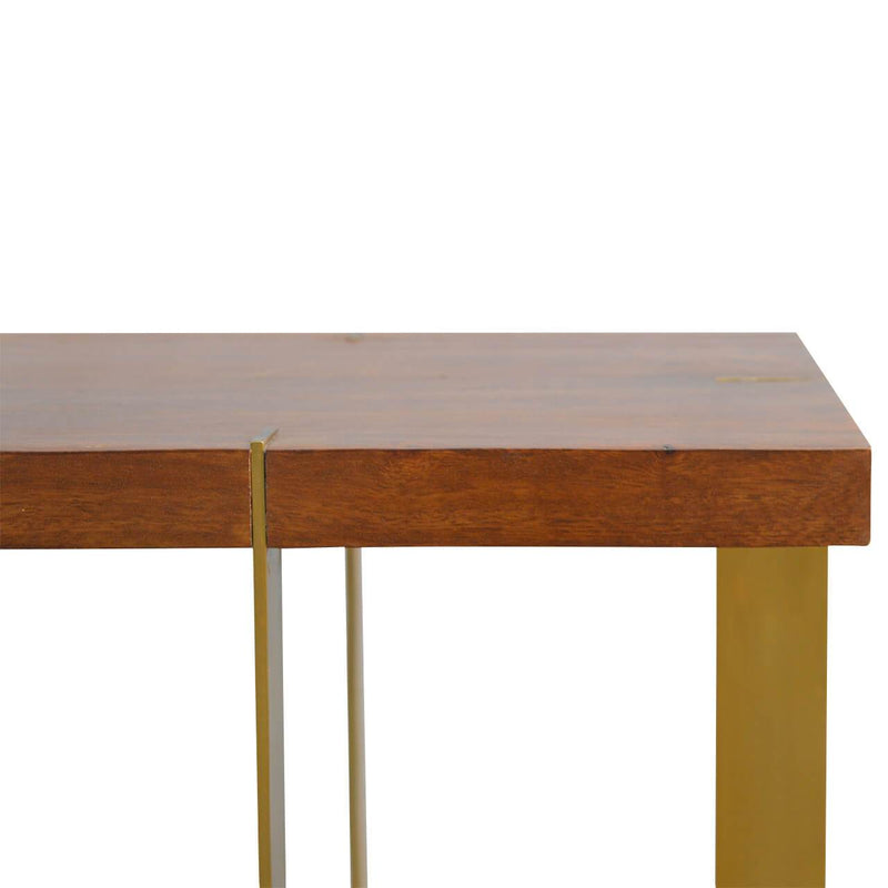 Handcrafted Side Table With Gold Panels - HM_FURNITURE