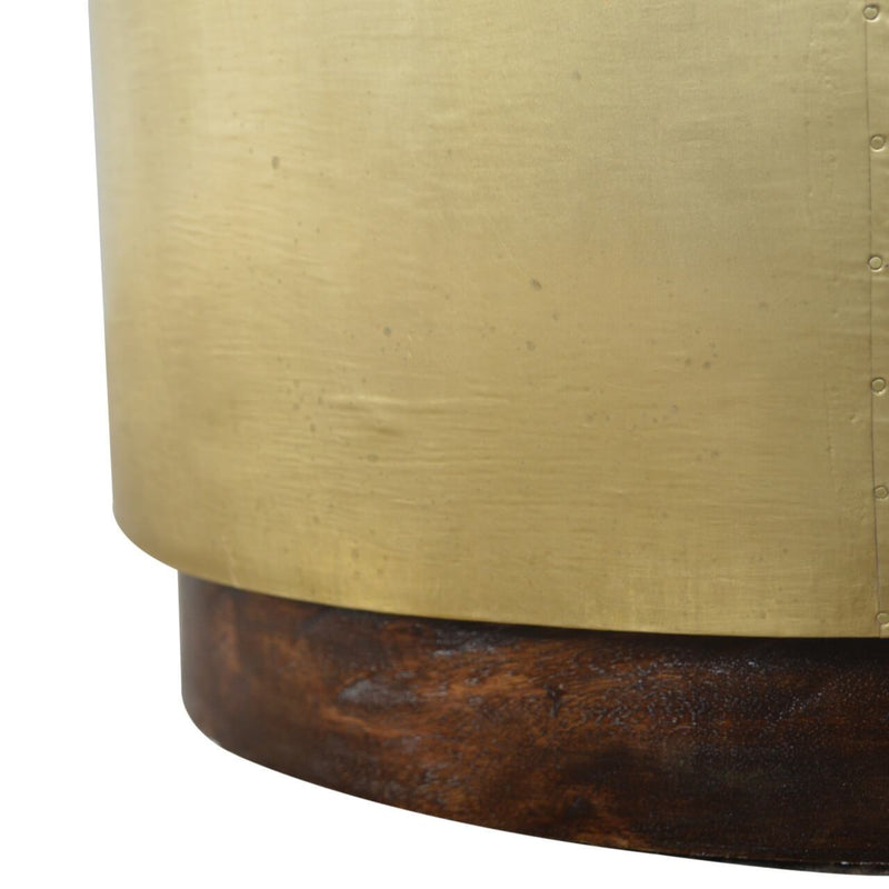 Handcrafted Side Table With Golden & Walnut Base - HM_FURNITURE
