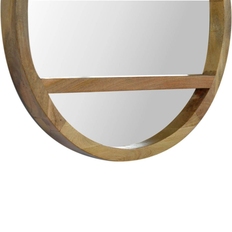 Handcrafted Solid Wood Mirror With Shelf - HM_FURNITURE