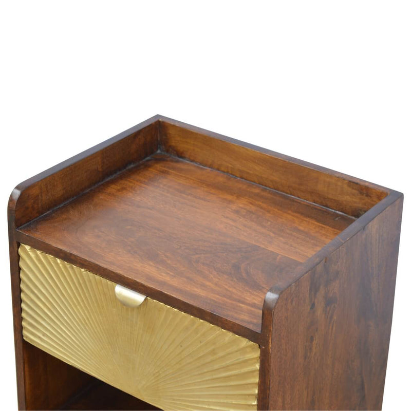 Handcrafted Bedside Table With Carved Drawer and Golden Base - HM_FURNITURE