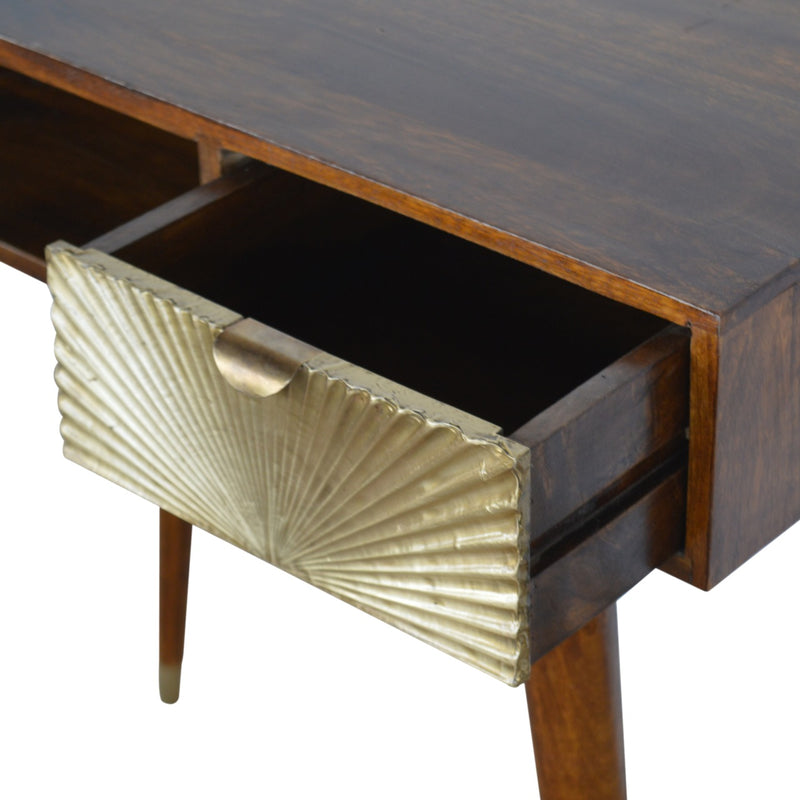 Dion - 1 Drawer 1 Shelf Desk, Brass Plated