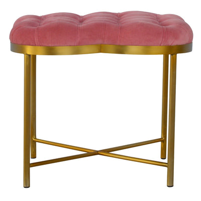 Pink Velvet Foot Stool With Gold Plated Iron Base - HM_FURNITURE