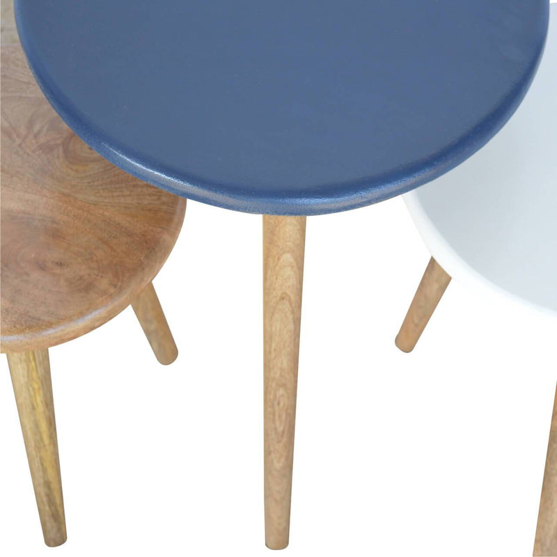 Nordic Style Handcrafted Nested Stools - HM_FURNITURE