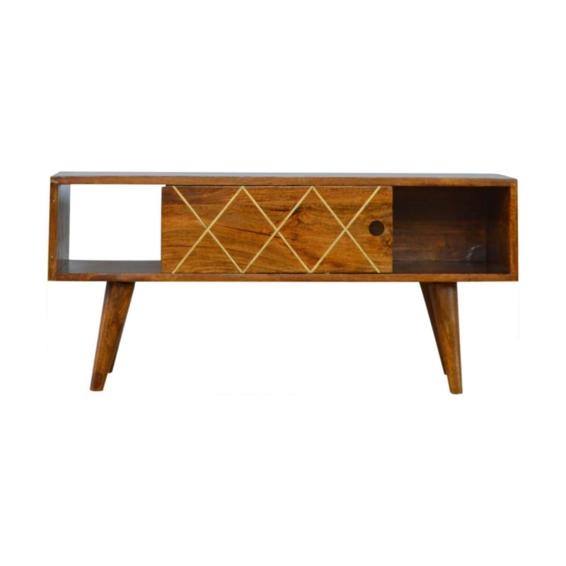 Handcrafted Chestnut Media Unit With Brass Inlay Goldline - HM_FURNITURE