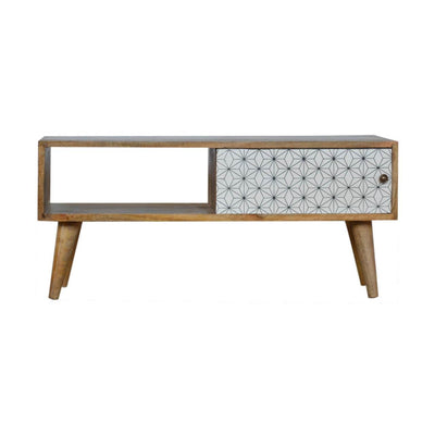 Handcrafted Media Unit With Screen Printed Sliding Door - HM_FURNITURE