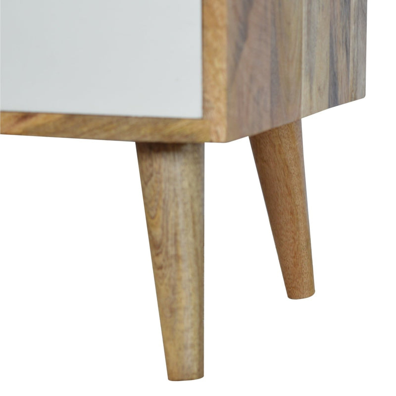 Handcrafted Bedside Table With Raised Back and 1 Painted Drawer - HM_FURNITURE