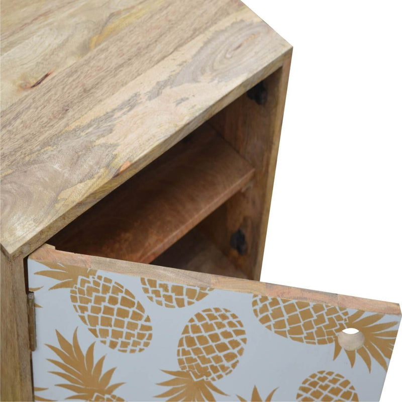 Handcrafted Bedside Table With Pineapple Painted Door - HM_FURNITURE