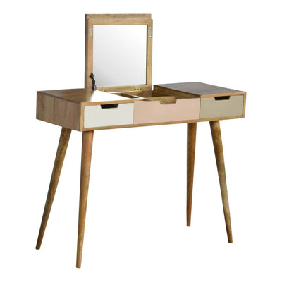 Handcrafted Dressing Table With Foldable Mirror, 4 Compartments and 2 Drawers - HM_FURNITURE