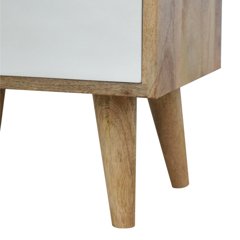 Handcrafted Bedside Table With V Shaped Painted Drawer - HM_FURNITURE