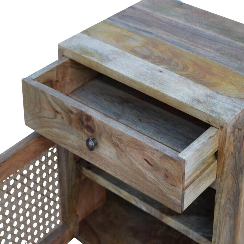 Handcrafted Bedside Table With Ratted Door - HM_FURNITURE