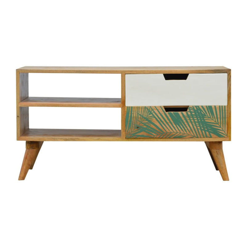 Handcrafted Media Unit With Painted Drawer and Leaf Pattern - HM_FURNITURE