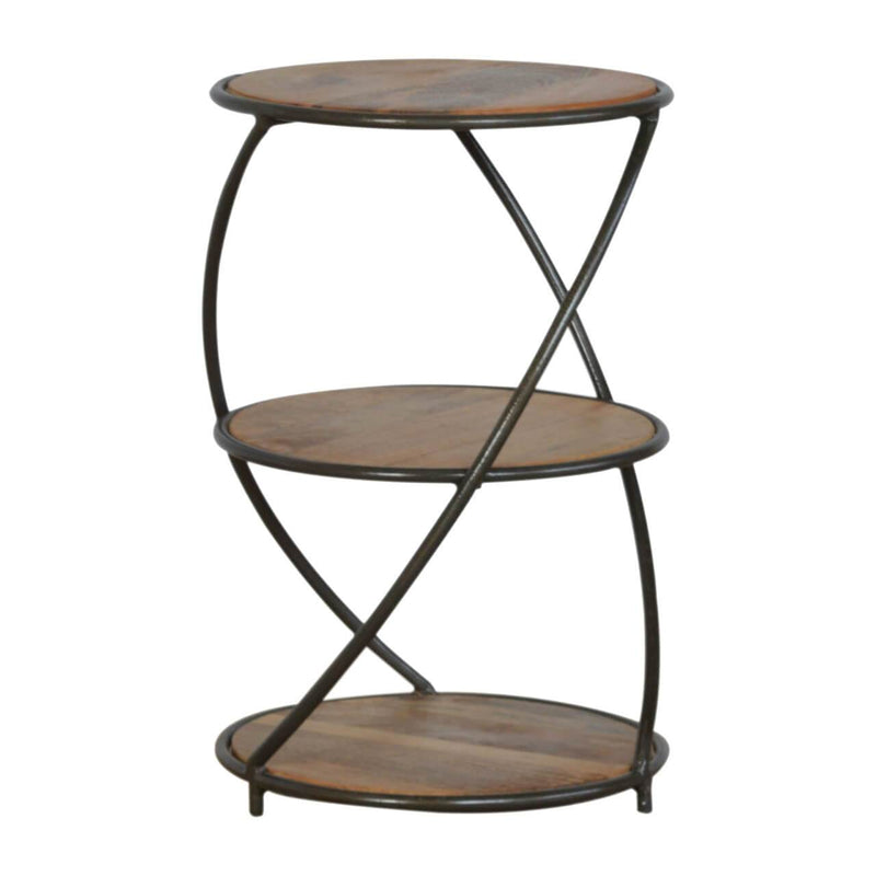 Handcrafted 3 Tier End Table With Iron Structure - HM_FURNITURE