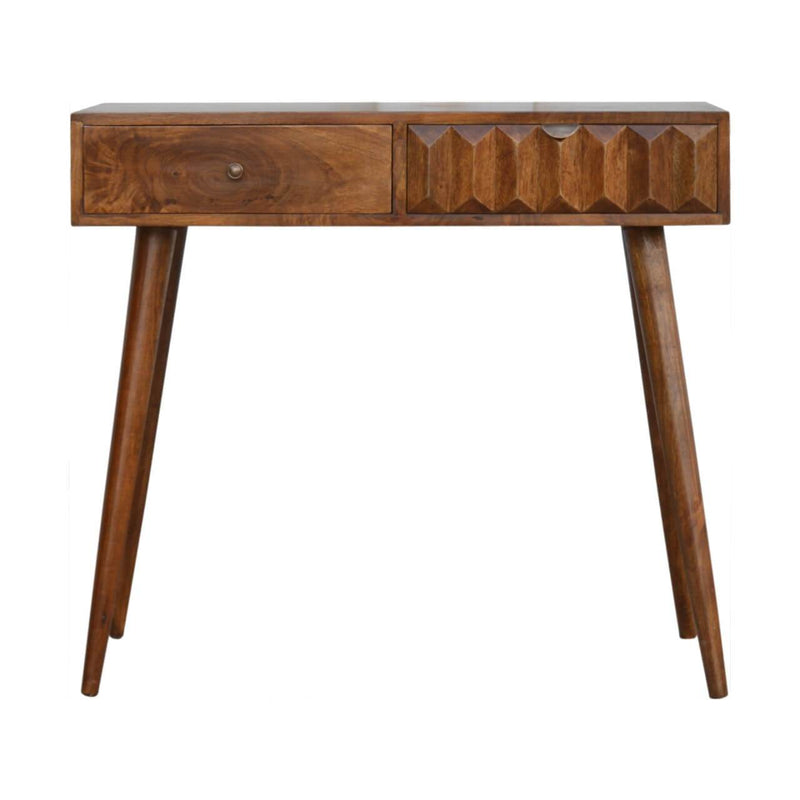 Handcrafted Chestnut Prism Console Table - HM_FURNITURE