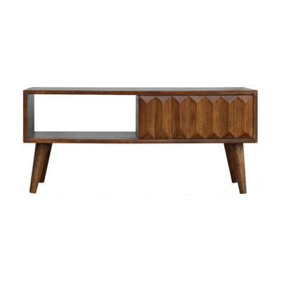 Handcrafted Contemporary Coffee Table With 1 Drawer and 1 Open Slot - HM_FURNITURE