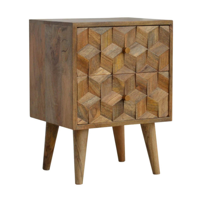 Handcrafted Cube Carved Bedside With 2 Drawers - HM_FURNITURE