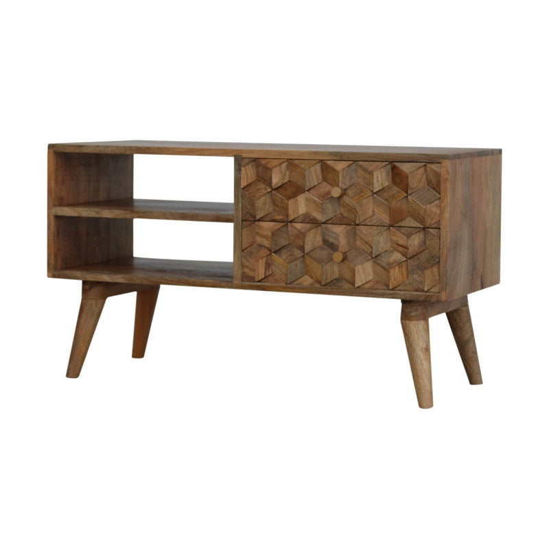 Handcrafted Cube Carved Media Unit With 1 Open Slot and 2 Drawers - HM_FURNITURE