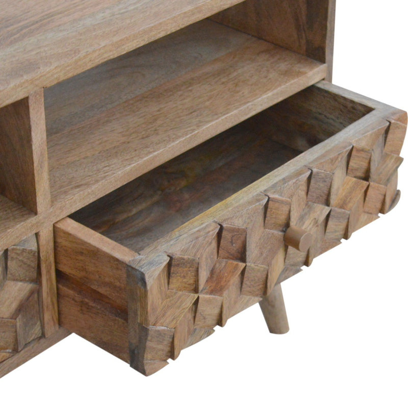 Handcrafted Cube Carved TV Unit With 2 Open Slots and 2 Drawers - HM_FURNITURE