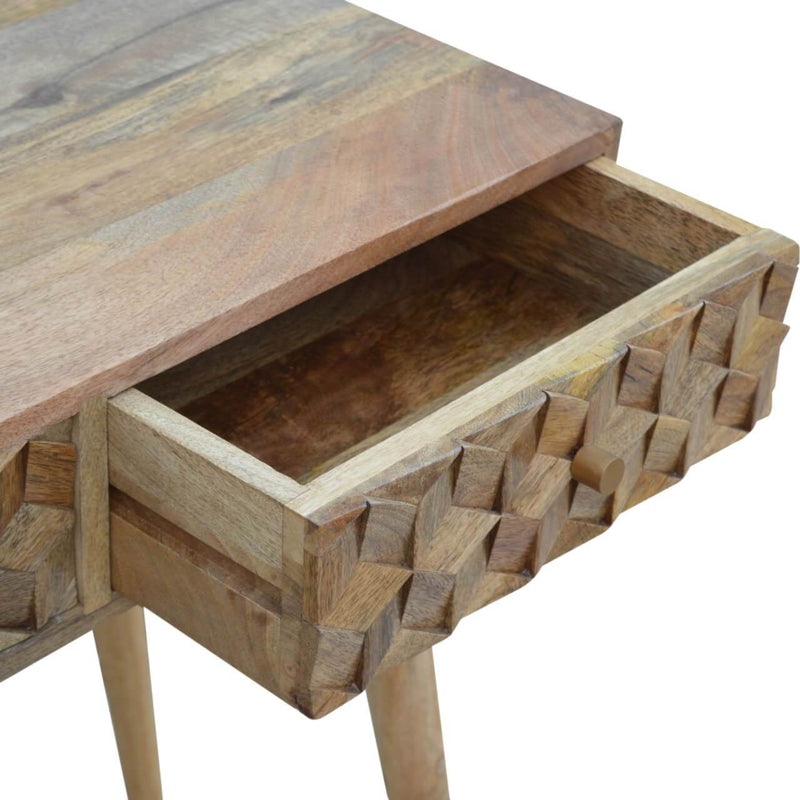 Handcrafted Cube Carved Console Table With 2 Drawers - HM_FURNITURE