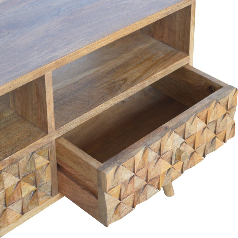 Handcrafted Diamond Carved TV Unit With 2 Drawers and 2 Open Slots - HM_FURNITURE