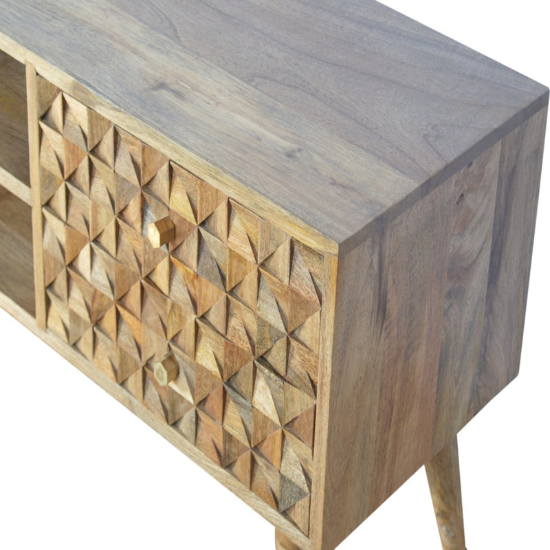 Handcrafted Media Unit With 2 Diamond Carved Drawers and 2 Open Slots - HM_FURNITURE