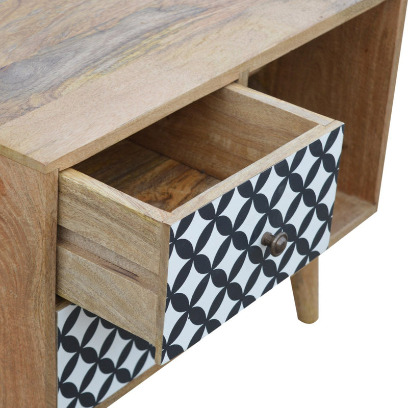 Screen Printed Cabinet With 2 Drawers and 2 Open Slots - HM_FURNITURE